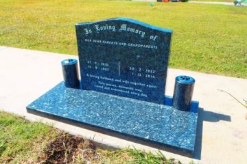 Blue-Pearl-serp-top-headstone-and-base-white-inscription-500x